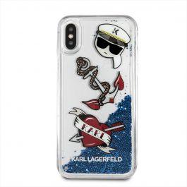 Kryt na iPhone X Karl Lagerfeld Karl Captain Karl - modré glitry