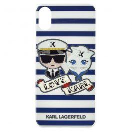 Kryt na iPhone X Karl Lagerfeld - námořní pruhy