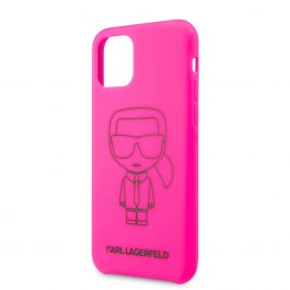 Karl Lagerfeld silikonový kryt pro iPhone 11 Pro Max Black Out - růžový