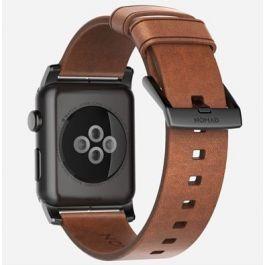 Apple Watch řemínek 44mm Nomad hnědý kožený čená spona