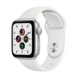 Apple Watch SE GPS, 40mm pouzdro ze stříbrného hliníku s bílým sportovním řemínekem