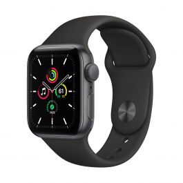 Apple Watch SE GPS, 40mm pouzdro z vesmírně šedého hliníku s černým sportovním řemínekem