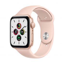 Apple Watch SE GPS, 40mm pouzdro ze zlatého hliníku s pískově růžovým sportovním řemínkem