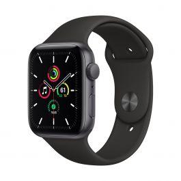 Apple Watch SE GPS, 44mm pouzdro z vesmírně šedého hliníku s černým sportovním řemínekem