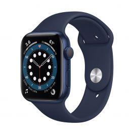 Apple Watch Series 6 GPS, 44mm pouzdro z modrého hliníku s námořnicky tmavomodrým sportovním řemínekem