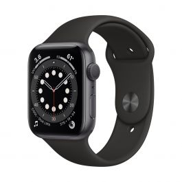 Apple Watch Series 6 GPS, 44mm pouzdro z vesmírně šedého hliníku s černým sportovním řemínekem
