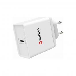 Adaptér Swissten 18W s podporou rychlonabíjení, USB-C - bílý
