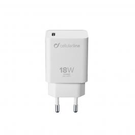 Adaptér Cellularline 18W s podporou rychlonabíjení - bílý