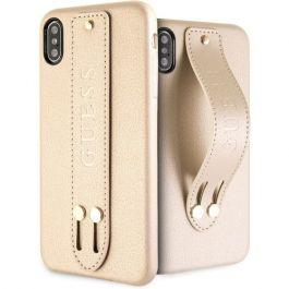 Guess Saffiano Strap Case pro iPhone XS Max béžový