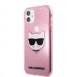 Kryt na iPhone 11 Karl Lagerfeld Choupette Head - růžový