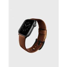 Kožený řemínek pro Apple Watch UNIQ Mondain 44mm - sépiový