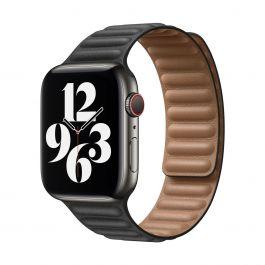 Apple 44mm černý kožený tah- S/M