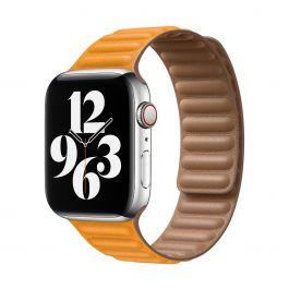 Apple 44mm měsíčkově oranžový kožený tah- S/M
