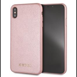 Obal na iPhone XS Max Guess z umělé kůže a tvrdým krytem růžovo zlatý