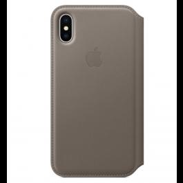 Apple kožené pouzdro Folio na iPhone X – kouřové