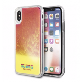 Kryt s pískem na iPhone X/XS Guess Glow in The Dark růžový