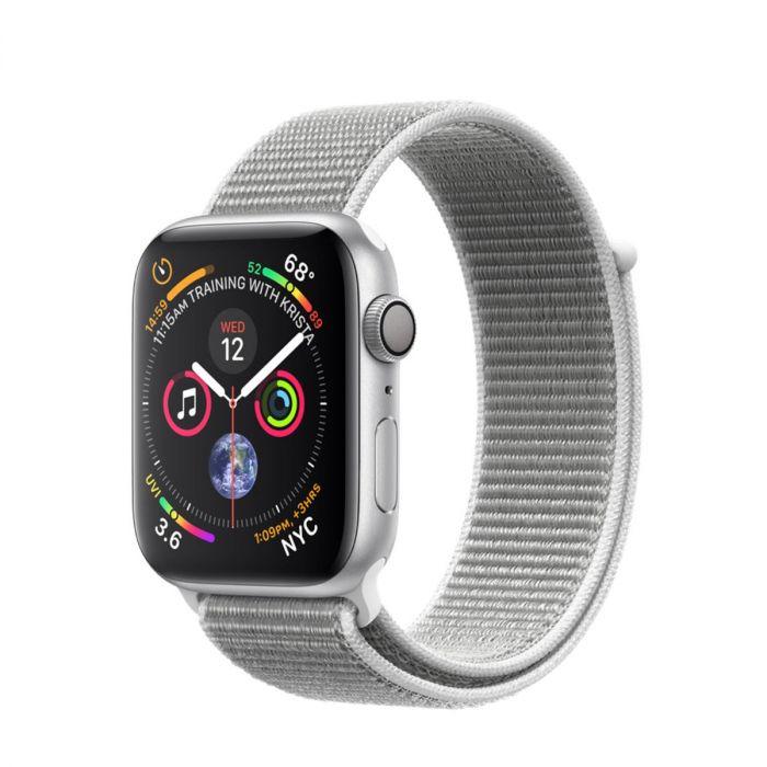 Apple Watch Series 4 GPS 44mm pouzdro ze stříbrného hliníku s mušlově bílým  provlékacím sportovním řemínkem 2cc494a9c34