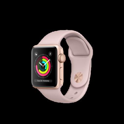 Apple Watch Series 3 38mm pouzdro ze zlatého hliníku s pískově růžovým sportovním řemínkem (otevřené)