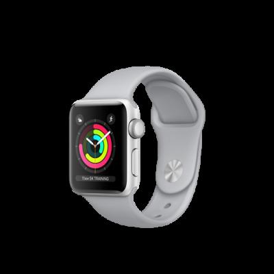 Apple Watch Series 3 38mm pouzdro ze stříbrného hliníku s mlhově šedým sportovním řemínkem