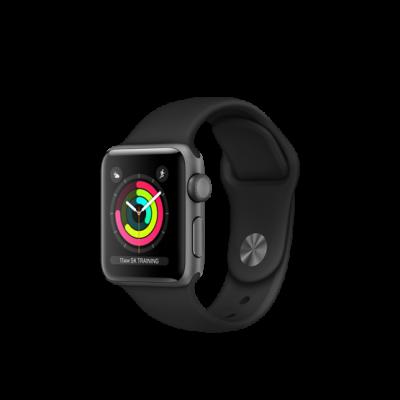 Apple Watch Series 3 38mm pouzdro z vesmírně šedého hliníku s černým sportovním řemínkem