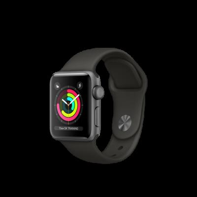 Apple Watch Series 3 38mm pouzdro z vesmírně šedého hliníku s šedým sportovním řemínkem