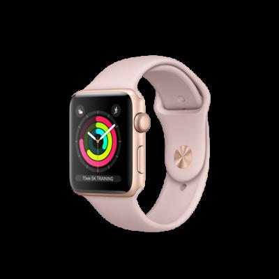 Apple Watch Series 3 42mm pouzdro ze zlatého hliníku s pískově růžovým sportovním řemínkem (použité)