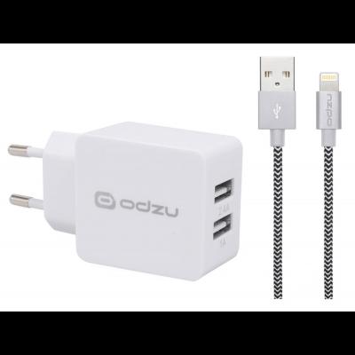 Nabíječka na iPhone s Lightning kabelem Odzu Wall Charger - bílá
