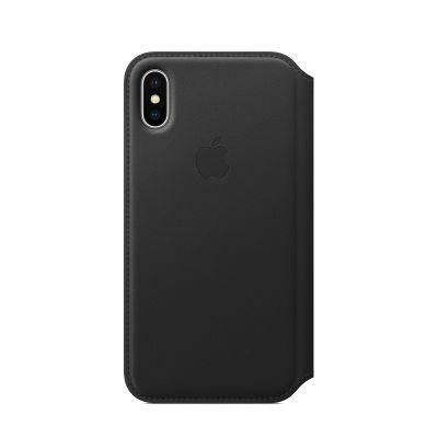 Apple kožené pouzdro Folio na iPhone X – černé