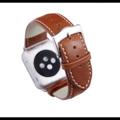 Kožený řemínek dBramante Copenhagen pro Apple Watch 38mm, tan se stříbrnou sponou