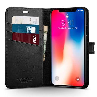 Obal na iPhone X Spigen Wallet S - černý