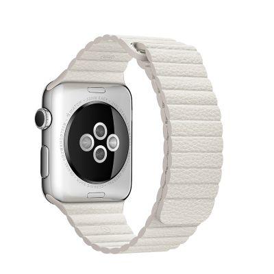 Apple 42mm bílý kožený řemínek - střední